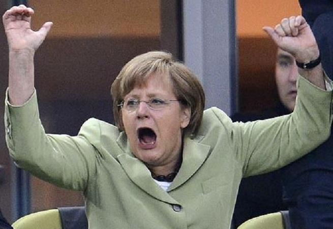 Hände hoch monströse Merkel